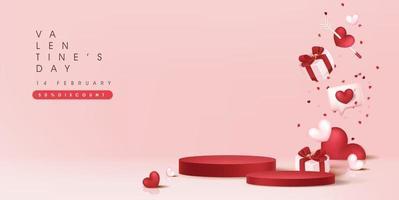 Valentijnsdag verkoop banner achtergrondgeluid met productvertoning in cilindrische vorm.