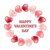 kaart banner met een rond frame van roze harten op een witte achtergrond. briefkaart voor Valentijnsdag en internationale Vrouwendag. in een 3D-realistische stijl.