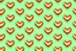 patroon van gouden harten op groen vector