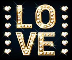banner met het woord liefde. hartvormige gouden letters met fonkelende diamanten vector