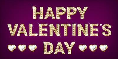gelukkige Valentijnsdag gouden letters met diamanten vector