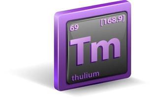 thulium scheikundig element. chemisch symbool met atoomnummer en atoommassa.