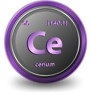 cerium scheikundig element. chemisch symbool met atoomnummer en atoommassa.