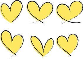set van verschillende soorten geel hart hand getekend geïsoleerd