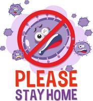 blijf alsjeblieft thuis lettertype met stop virus teken vector