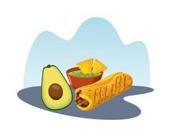heerlijke mexicaanse burrito met avocado en nacho's in saus vector