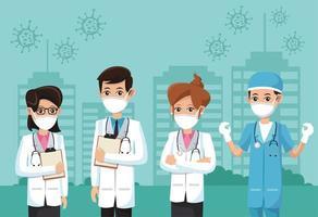 groep artsen die medische maskers dragen vector