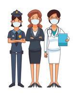 vrouwelijke arts en politie met zakenvrouw met gezichtsmasker vector