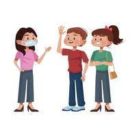 jongeren die medische maskers gebruiken vector