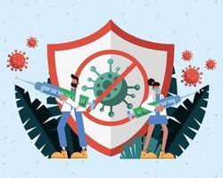 artsen die medische maskers dragen en vaccins met schild opheffen vector