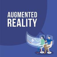 jong stel met behulp van augmented reality op stoel vector