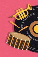 vinylplaat met muziekinstrumenten vector