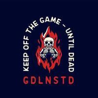 schedel gamer vintage voor t-shirts vector