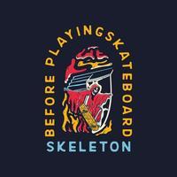 schedel met skateboard springen vector