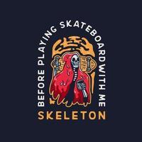 schedel met skateboard en koffie vector