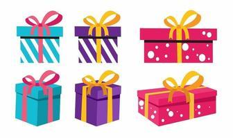 geschenkdozen set. platte vectorillustratie voor vakantie of verrassing vector