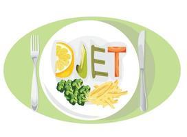 dieet gewichtsverlies concept met groenten en fruit vector