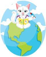schattige dieren die boeken lezen. kinderen onderwijs illustratie. kat die abc-boek leest.