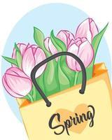 boeket roze tulpen gewikkeld in ambachtelijk papier op de witte tafel. roze tulpen in een papieren zak. achtergrond voor bruiloft wenskaart banner, moederdag kaart, vrouwendag, verjaardag en andere feestdagen. vector