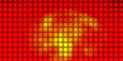 licht oranje vector patroon met cirkels.