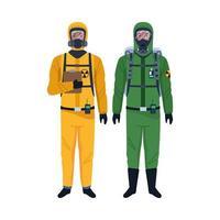 werknemers die bioveiligheidskostuums dragen