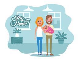 blijf thuis campagne met ouders die de baby optillen