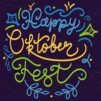 gelukkig oktoberfest belettering vector