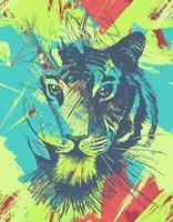 grunge wilde tijger vector