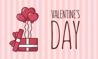 Valentijnsdag kaart ontwerp met hart ballonnen vector