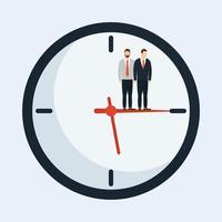 zakelijke zakenlieden op een klok vectorontwerp