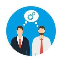 zakelijke zakenlieden met versnellingen vector ontwerp