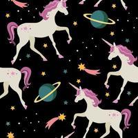 naadloze patroon met eenhoorns en planeten, sterren.