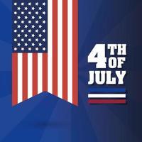 4 juli viering ontwerp met vlag vector