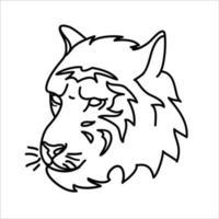 dierlijk tijger pictogram ontwerp. vector, illustraties, illustratie, lijn pictogram ontwerpstijl.