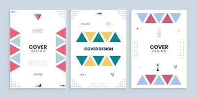 memphis omslagcollectie met kleurrijke geplaatste driehoeken vector