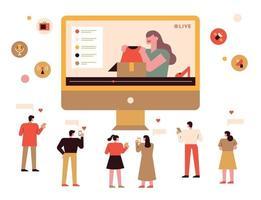 influencers en volgers op sociale media. vector