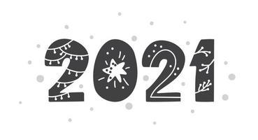 gelukkig nieuwjaar 2021 logo tekstontwerp scandinavische stijl. zwart-witte kleur. eenvoudige decoratie op platte ontwerpstijl. pictogram voor nieuwjaar vieren. vector