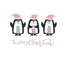 kerst wenskaart met pinguins en tekst vrolijk kerstfeest. geniet van de wintertijd. sjabloon voor groet scrapbooking, gefeliciteerd, uitnodigingen. vector