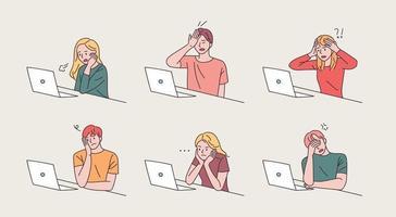 webpeople zittend met laptops op. vector