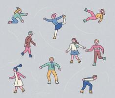 winterveel mensen schaatsen op het ijs. vector