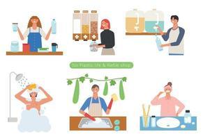 mensen die winkelen bij zero-waist-winkels en mensen met een plasticvrije levensstijl. platte ontwerpstijl minimale vectorillustratie.