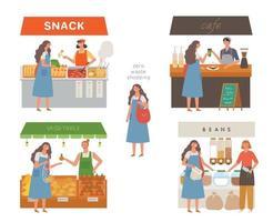 levensstijl zonder afval. een vrouw winkelt met een stoffen tas. platte ontwerpstijl minimale vectorillustratie.