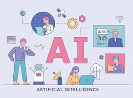 kunstmatige intelligentie levensstijl. gebruikers en wetenschappers wisselen informatie uit rond AI-karakters. platte ontwerpstijl minimale vectorillustratie. vector