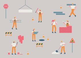 werknemers op de bouwplaats. een bouwplaats waar kleine en eenvoudige menselijke karakters hun werk doen. platte ontwerpstijl minimale vectorillustratie.
