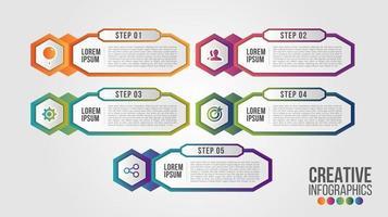 infographic moderne tijdlijn vector ontwerpsjabloon voor zaken met 5 stappen of opties