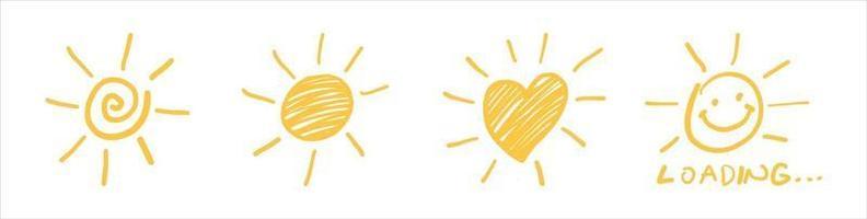 zon symbool. hand getrokken zon pictogram.