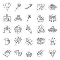 verjaardag ingesteld pictogram vector. hand getrokken stijl. doodle kunststijl.