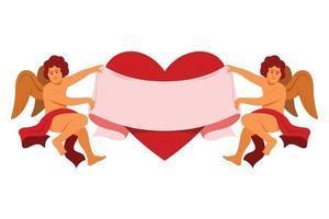 de duo-engel houdt een groot lint en een hart vast voor de valentijnsdecoratie. vector