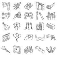 oudejaarsavond instellen pictogram vector. doodle hand getrokken of overzicht pictogramstijl