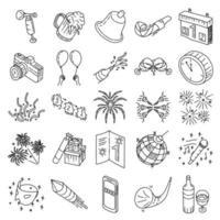 Nieuwjaar ingesteld pictogram vector. doodle hand getrokken of overzicht pictogramstijl